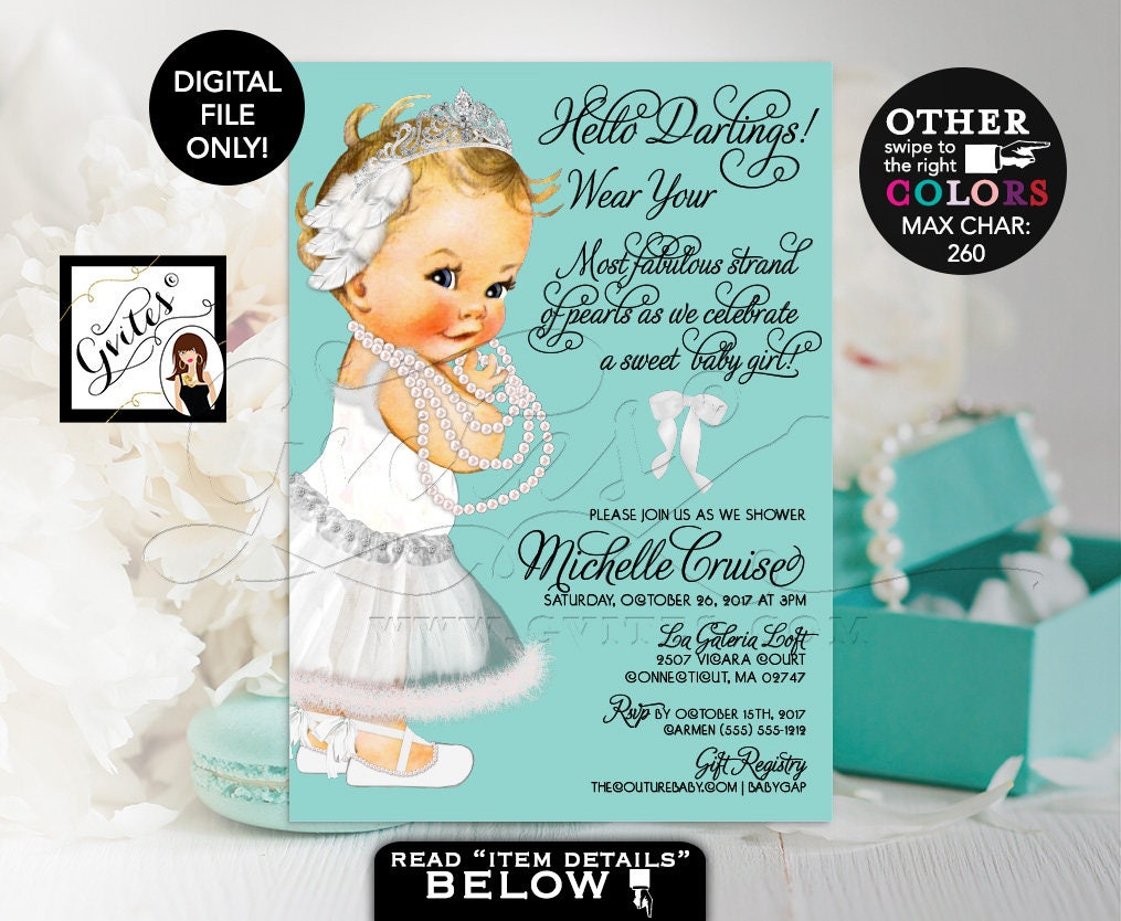 Turquoise Blue And White Baby Shower Invitation Breakfast Diamonds Pearls Princess Swan Lake Vintage Girl Tiara DIGITAL FILE 5x7 Gvites