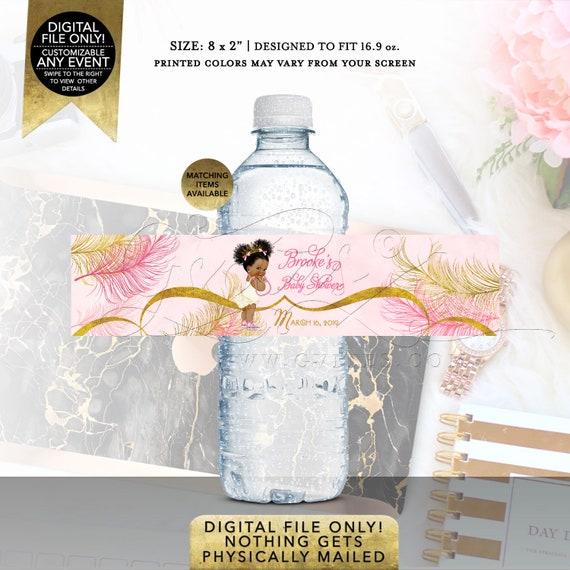 "Pink & Gold Water Labels | Baby Shower Party Favors Vintage | Printable Digital File | JPG + PDF | 8x2"" 5 Per Sheet  | Design: TIACE-104"
