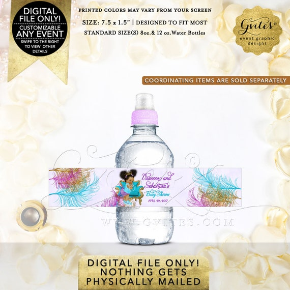 Purple Turquoise Gold Afro Puffs Princess Mini Water Labels Baby Shower | Digital File JPG + PDF {TIACH-105}