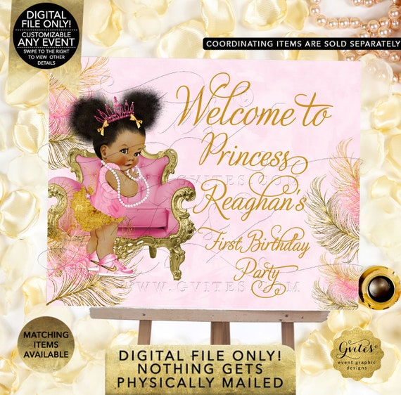 First Birthday Welcome Sign Afro Puffs Princess Decorations Baby Girl/ African American Birthday {Design: TIACH-110} By Gvites
