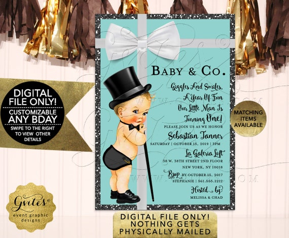 Baby and Co Baby First Birthday Invitation breakfast at blue and white little man invites digital / 7x5 Gvites
