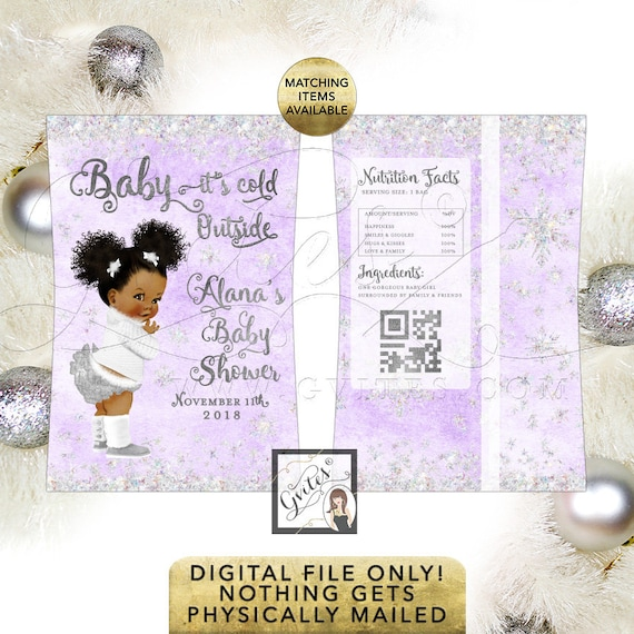 Lavender and Silver Baby Shower Chip Bag Printable, Baby its cold outside African American Afro Puffs Curly Vintage Baby.