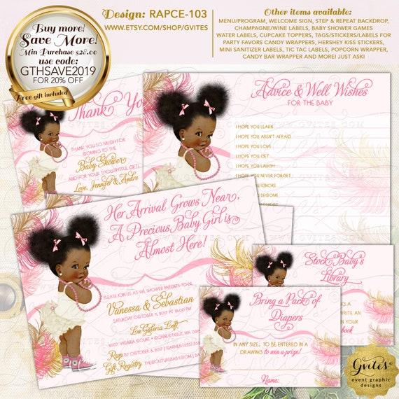Pink & Gold African American Baby Baby Shower Party Printable | Design: RAPCE-103 By Gvites