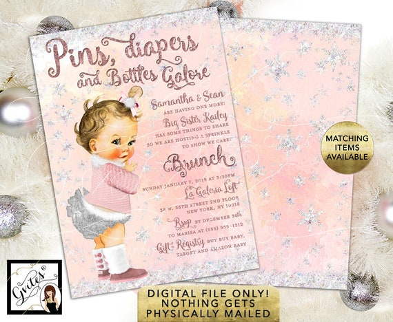 "Winter Wonderland Baby Sprinkle Shower Invitations / Blush Pink Silver Glitter Snow Sparkles. Printable Invites. 5x7"" Double Sided."