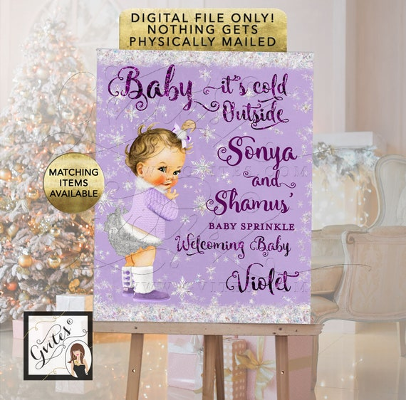 Winter Theme Welcome Sign \ Baby it's cold outside poster for entrance decoration. Colors in lavender purple glitter fonts and silver.