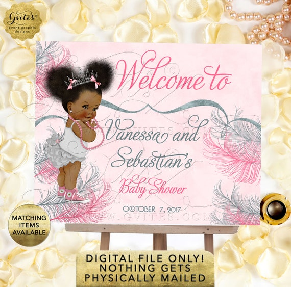 Pink and Silver welcome sign baby shower/ princess african american baby girl decorations/ table signs/ Afro Puffs | Design: TIACE-105