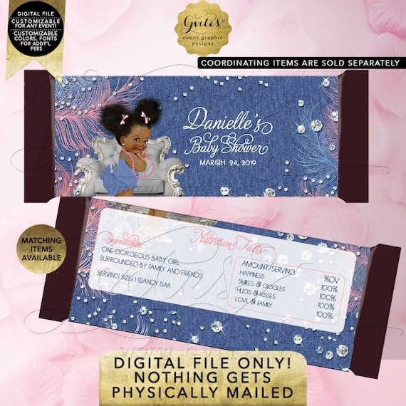 Candy Bar Wrappers Denim & Diamonds. Printable File. Customizable For Any Event!