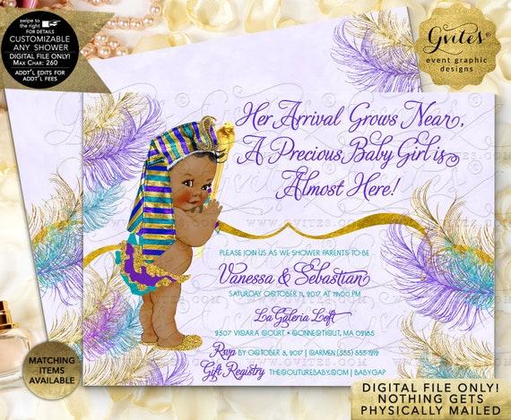 "Teal Purple Gold Egyptian Princess Baby Shower Invitation | Printable JPG + PDF Double Sided 7x5"""