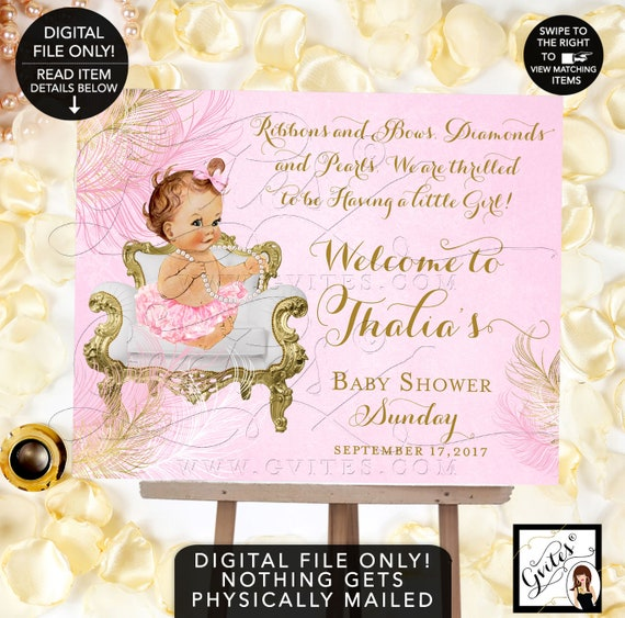 Pink and Gold Welcome Sign, princess baby shower signs, printable, ribbons bows pearls {Feathers: Gold/Pink/White}