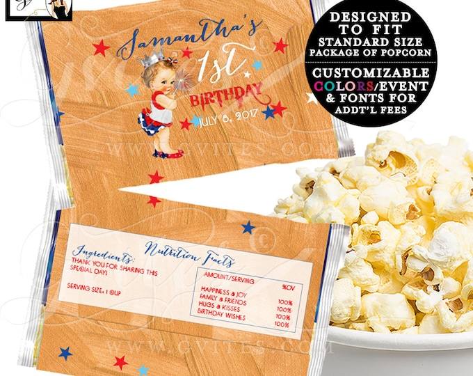 Popcorn Wrappers PRINTABLE, Microwave popcorn cover wrapper, popcorn party favors, First Birthday 4th of July. {6.63 x 9.86 1-Per/Sheet}