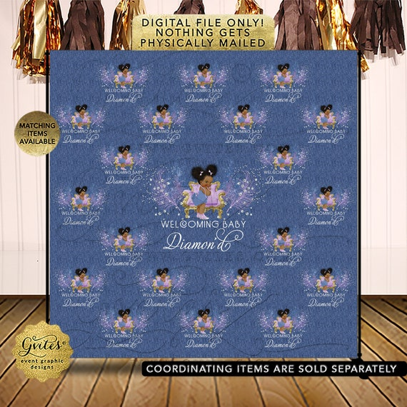 Step & Repeat Photo Backdrop Denim Blue Lavender Gold Diamonds Baby Shower Printable Decorations Photo Booth Backdrops | Afro Puffs Girl