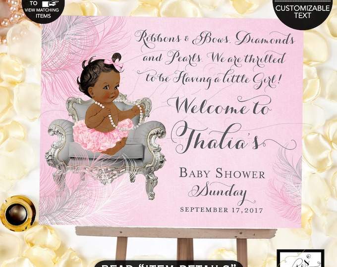 Pink and Silver Welcome Sign, princess baby shower welcome signs,printable, african american baby, ribbons bows pearls, DIGITAL FILE ONLY!