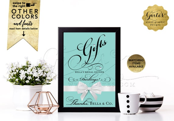 Gifts Sign for Bridal Shower Table | Bride and Co. Breakfast at Blue White Satin Bow |  Wedding Shower Gifts Here | DIY