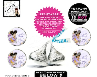 """Lavender and Gold Hershey kisses stickers, thank you candy labels, baby shower, gold silver and purple PRINTABLE 0.75x0.75""""/48 Per Sheet."""