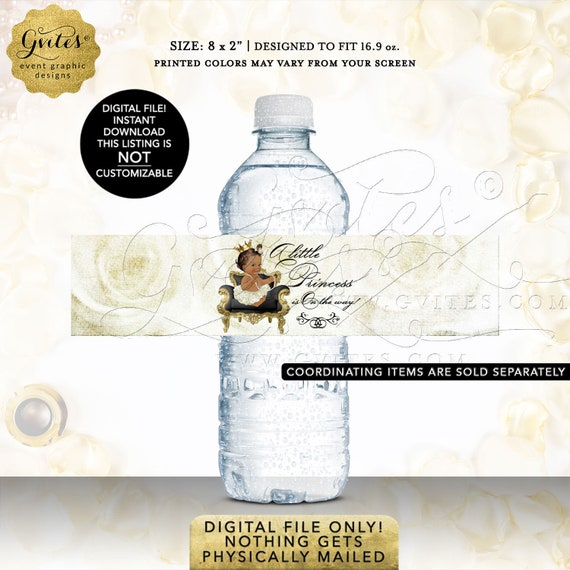 Water Bottle Labels Princess | African American Princess Baby Shower | INSTANT DOWNload | Med/Brunette Design: WHRST-102 By Gvites