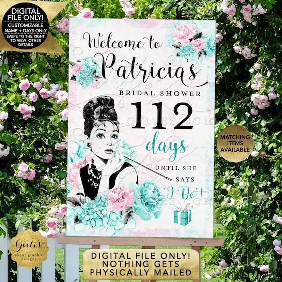 Countdown To Wedding Sign/ Days Till I do/ Audrey Hepburn Bridal Shower Poster Decoration/ African American/ Breakfast at Themed.