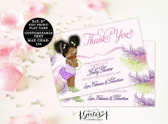 "Thank you baby shower cards/ pink purple and green African American note cards/ baby thank you flat customizable text. {5x3.5"" 4 Per/ Sheet}"