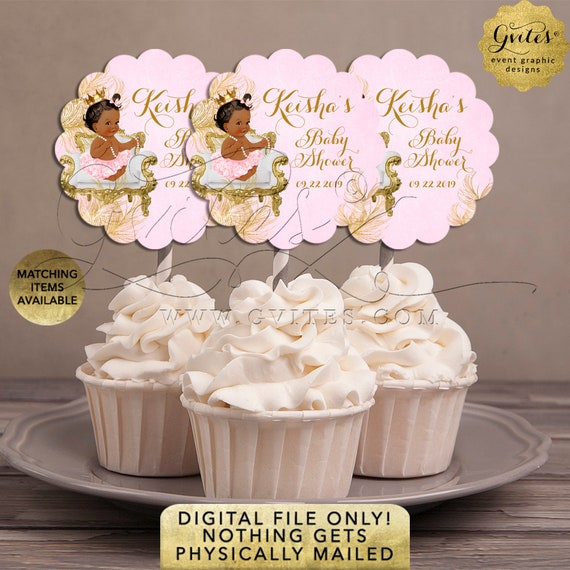 "Pink & Gold Cupcake Toppers Baby Shower Decorations | Princess Dessert Table | 2.5x2.5""/ 9 Per Sheet {Avery® 08218}"