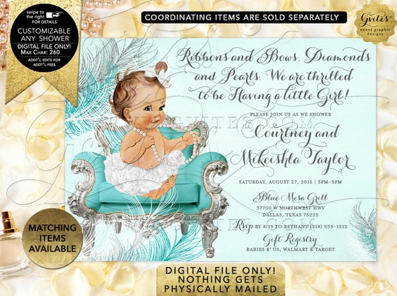 Turquoise Silver White Baby Shower Invitation | Digital File JPG + PDF Format | Design: BSCNR-109 By Gvites