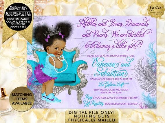 Little Princess Purple Diaper Silver Ornate Crown / Vintage Baby Girl/ 3 Skin Tones / Clipart INSTANT DOWNLOAD