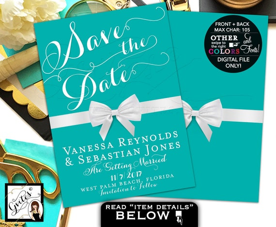 Turquoise Save The Date Card Printable | Breakfast Themed