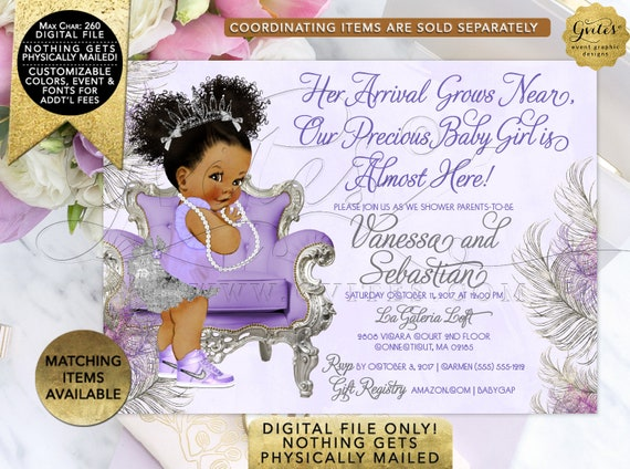 Lavender Silver Baby Shower Invitation | Princess Invites | African American Afro Puffs Curly Girl Vintage | Digital JPG + PDF | 7x5""