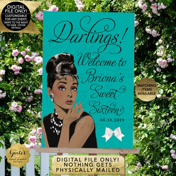 Sweet Sixteen Welcome Sign | African American Audrey Hepburn | Printable/ Digital File Only! JPG + PDF Format | By Gvites