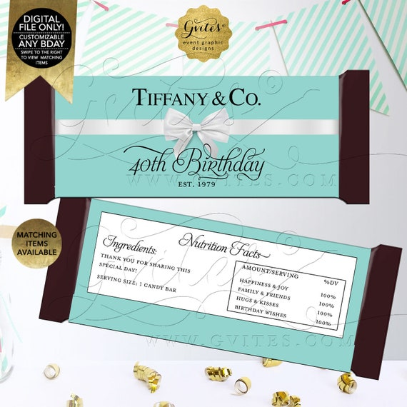 Candy Bar Wrappers 40th Birthday/ Personalized Party Favors Breakfast Customizable Text/ Colors & Fonts 2 Per/ Sheet 5.25x5.75{Satin Ribbon}