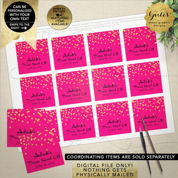 Prom Send Off Thank you Tags/ Labels/ Favor/ Gifts | Hot Pink & Gold Polka Dots. Personalized Stickers | Printable JPG + PDF 2x2""