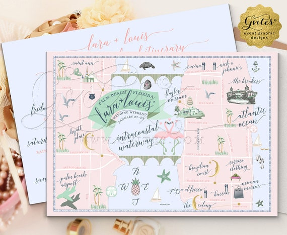 Palm Beach Wedding Maps for Welcome Gift Bags. Wedding Map The Breakers Palm Beach Florida Rustic. Up to 6 Landmark Any Roads/Icons