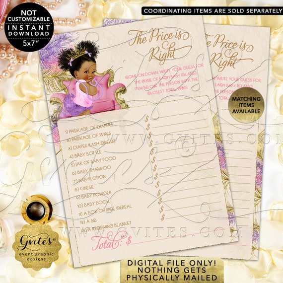 The Price is Right Pink Purple & Gold Shower Baby-Dark Puffs/Curly | Instant Download JPG + PDF | Design: TIACH-120