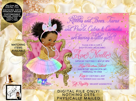 "Unicorn Baby Shower Princess Vintage Girl. Pink Purple Gold Turquoise, African American Rainbow Invites. 7x5"" Digital File Only!"