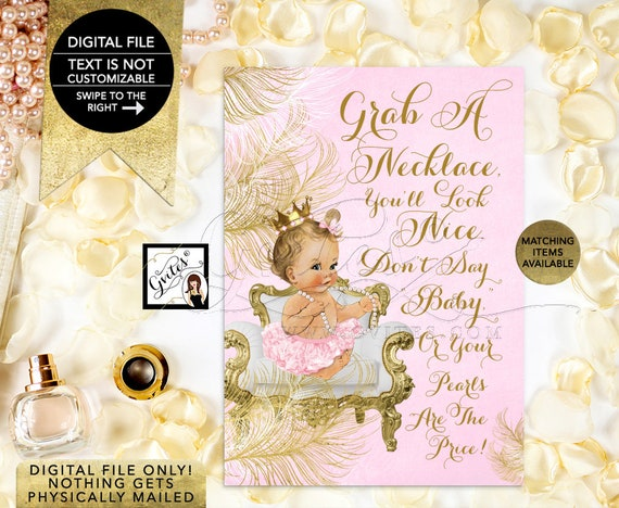 """Don't Say Baby Pearl Necklace Game Sign Princess Pink Gold Princess Baby Shower Printable 5x7"""""""