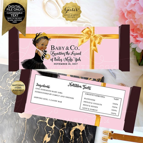 Baby Co Baby Shower Pink Gold Candy Wrappers | Digital File JPG + PDF | Designed to fit candy bar 1.55oz | 5.25x5.75/2 Per Sheet