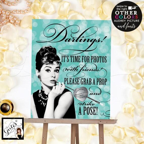 Audrey Hepburn Selfie Station Photo Booth Sign/ Vintage Party PRINTABLE Signs