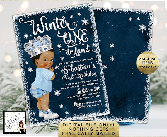 "Winter ONEderland Birthday Invitation/ African American Ice Blue Prince Vintage Blue Pants Plaid/ Double Sided Printable 5x7""."