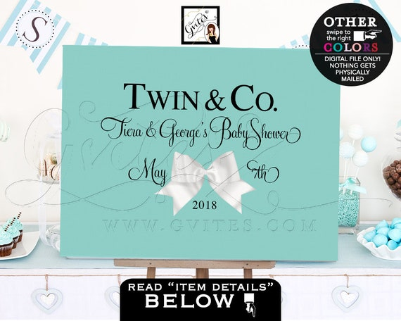 Twin and Co BABY Shower blue themed TABLE backdrops banners poster signs/ white bow decorations/ PRINTABLE. Centerpiece dessert cake table.