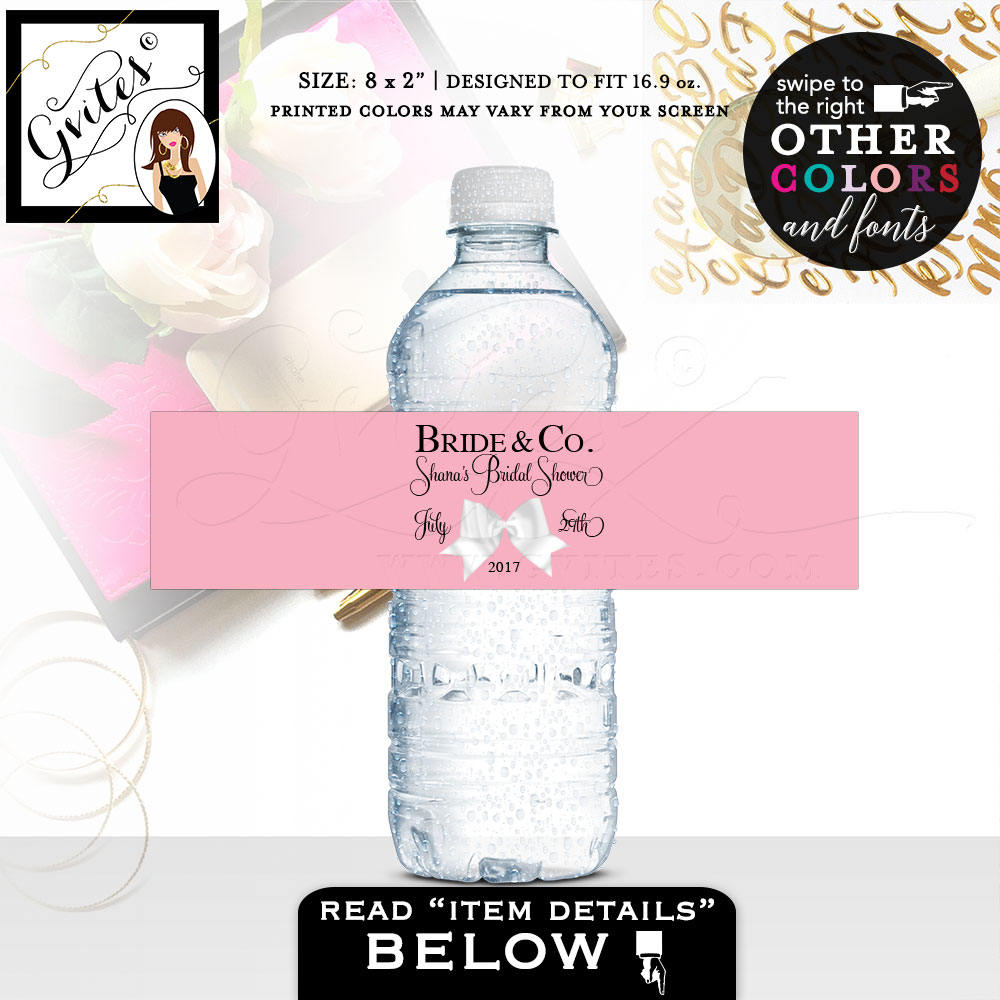 Bride and co pink water bottle label personalized stickers for party favors and gifts 8x2 5 per sheet