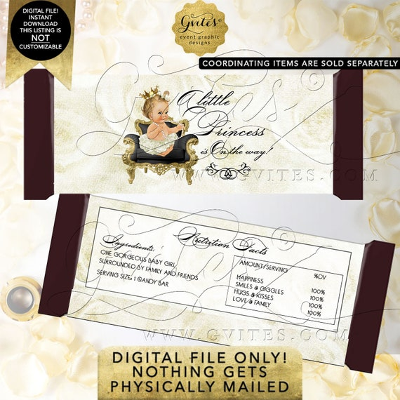 Candy Bar Princess Wrapper INSTANT Download Baby Shower Light/Blonde Caucasian Design: WHRST-102 By Gvites