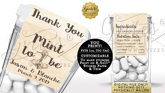 Tic Tac Personalized Labels | Nautical Anchor Wedding Theme | Printable JPG + PDF
