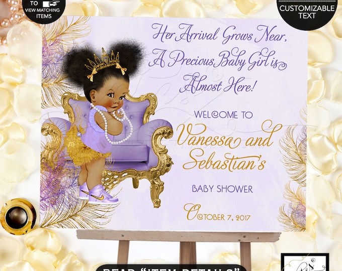 Purple and Gold Baby Shower Welcome Sign, Lavender gold princess ethnic, printable poster sign, african american DIGITAL, Afro Puffs, Gvites