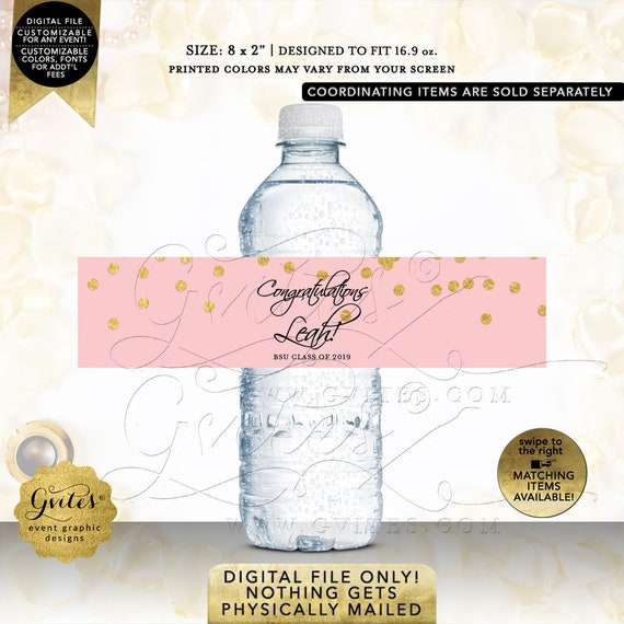 Congrats Water Bottle Labels Prom Send Off Wrappers/Favor/Gifts | Pink & Gold Polka Dots. Personalized | Printable JPG + PDF