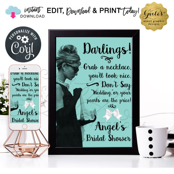 Personalized Bridal Shower Audrey Hepburn Pearl Necklace Game Sign/ Don't Say Wedding or your pearls are the price. INSTANT DOWNLOAD. 8x10""