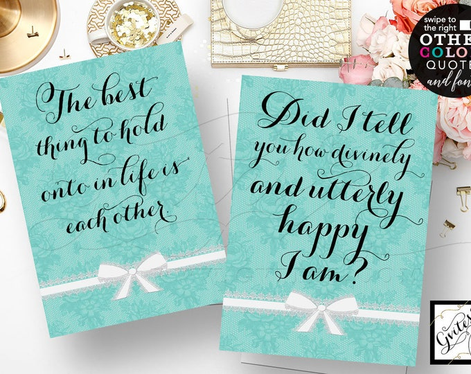 Audrey Hepburn quotes, CUSTOMIZABLE, the best thing to hold, Did I tell you how divinely utterly happy I am  {5x7 Set of 2}