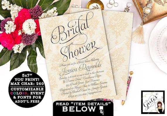 Gold Bridal Shower Printable Invitations / Pearls & Lace Wedding Invitations / Ivory Gold PRINTABLE wedding invitation