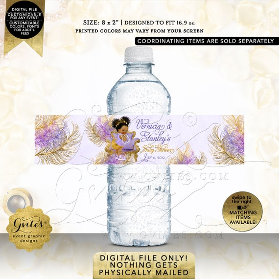 Water Bottle Labels Lavender & Gold Backdrop/Baby Shower/Princess/Ethnic Baby Girl/African American/Afro Puffs | Design: TIACH-103