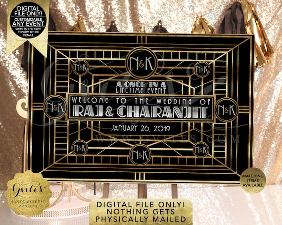 Great Gatsby Wedding Backdrop | Customizable For Any Event | Printable Digital File Only | JPG + PDF Format | By Gvites