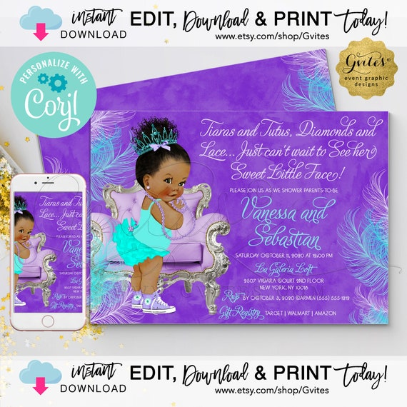 "Dark/Bun Curly Baby Clipart Lavender & Turquoise | Tiaras Tutus Diamond Lace 7x5"" Double Sided {Personalized with Corjl}"