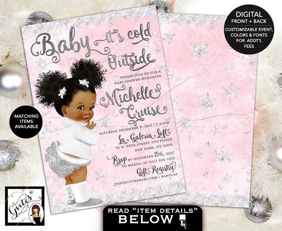 Baby it's Cold Outside Invitation Baby Shower Winter Wonderland / African American Afro Puffs Girl Pink & White / Vintage Babies of Color