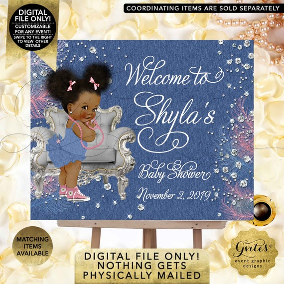 Denim & Diamonds Welcome baby shower sign/ baby banner baby girl/ Pink blue and silver/ Afro Puffs/ Digital | Design: DDRBC-101